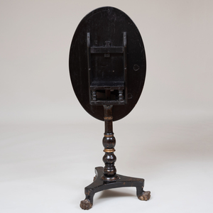 Victorian Black Lacquer Oval Tilt-Top Table