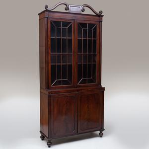 Regency Mahogany and Ebony Inlaid Bookcase Cabinet