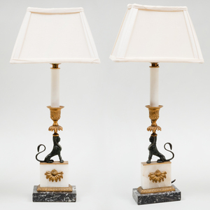 Pair of Marble and Quartz Sphinx Form Candlestick Mounted as Lamps