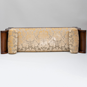 Regency Style Brass Inlaid Walnut and Ebonized Chaise Lounge