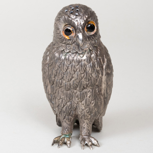 Silvered Metal Owl Form Caster