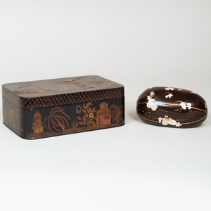 Japanese Mother-of-Pearl Inlaid Melon Form Box and Cover