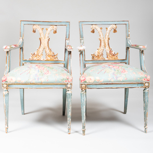 Pair of Italian Neoclassical Style Blue Painted and Parcel-Gilt Armchairs