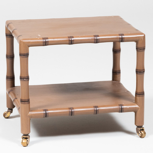 Modern Painted Faux Bamboo Two-Tier Telephone Table