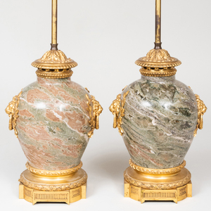 Pair of Louis XVI Style Ormolu-Mounted Marble Lamps