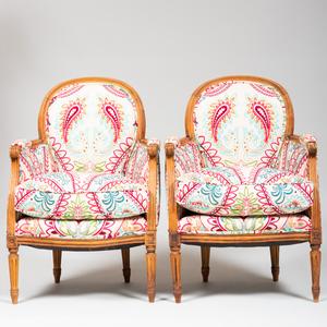 Pair of Louis XVI Style Beechwood Bergères