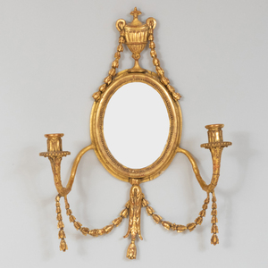 Pair of George III Style Giltwood and Gilt-Gesso Two-Light Sconces