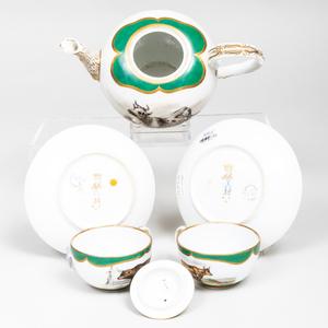 Meissen Outside Decorated Three-Piece Porcelain Tea Service