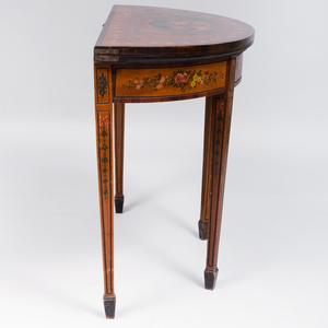 George III Satinwood and Painted Card Table
