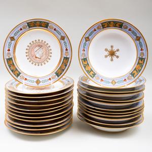 Sèvres Powder Blue Ground Porcelain Part Service Made for Pauline Bonaparte, Princess Borghese