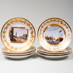 Set of Twelve Paris Porcelain Plates Decorated with Scenes of Europe