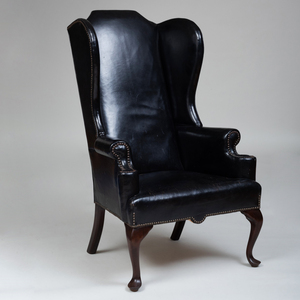 George II Style Mahogany and Leather Upholstered Wing Chair