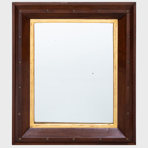 Brass-Mounted Mahogany Mirror with Gilt Filet