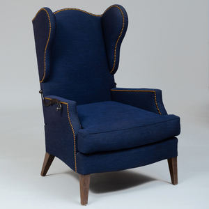 Continental Stained Wood and Upholstered Wing Chair with Adjustable Back