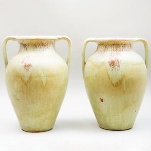 Pair of Contemporary Large Green Glazed Pottery Urns