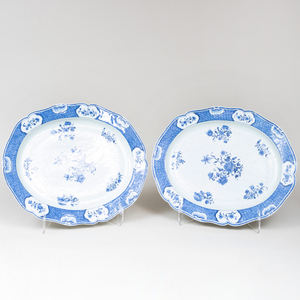 Two Chinese Export Blue and White Porcelain Platters