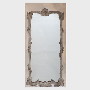 Louis XV Provincial Grey and Cream Painted Trumeau Mirror