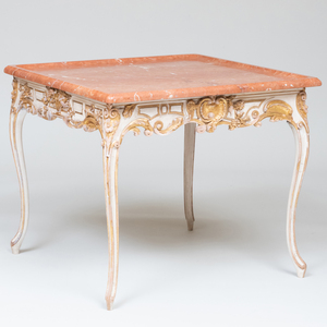 Louis XV Style White Painted and Parcel-Gilt Table, Stamped Frederick P. Victoria