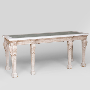 Late George II Style White Painted Wood Console Table, Fourth Quarter 19th Century