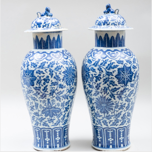 Pair of Chinese Export Blue and White Porcelain Vases and Covers