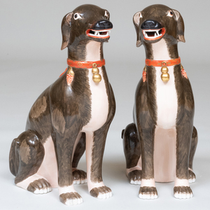 Large Pair of Italian Chinese Export Style Porcelain Models of Seated Dogs