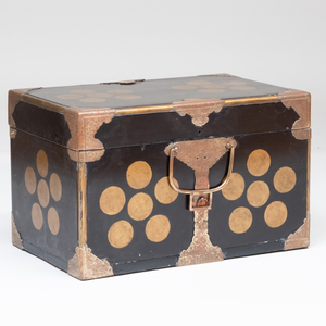 Japanese Gilt-Metal-Mounted Black Lacquer and Parcel-Gilt Trunk