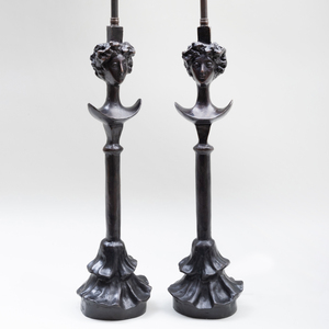 Pair of Painted Bronze Figural Table Lamps, After a Model by Alberto Giacometti