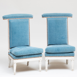 Pair of Louis XVI Style White Painted and Upholstered Prie Dieux