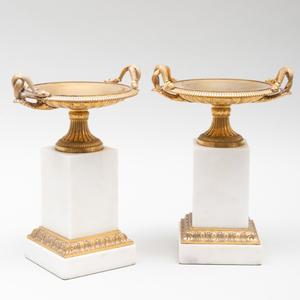 Pair of Continental Classical Ormolu and White Marble Tazze on Plinths