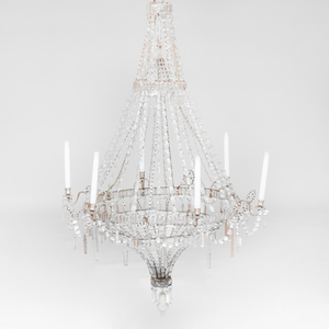 Continental Neoclassical Style Cut Glass and Silvered-Metal Six Light Chandelier