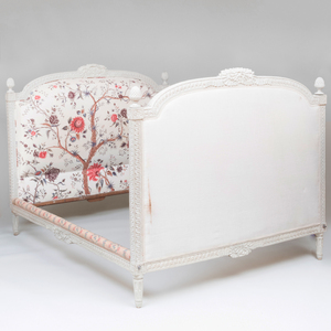 Louis XVI Style White Painted and Upholstered Lit d'Alcove