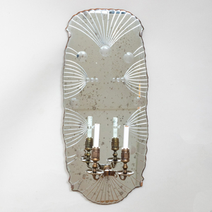 Pair of Large Queen Anne Style Etched Mirror Plate and Bronze Wall Sconces