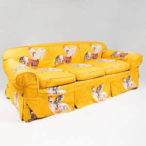 Cotton Slipcovered Upholstered Three Seat Sofa