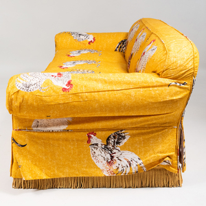 Cotton Slipcovered Upholstered Three Seat Sofa