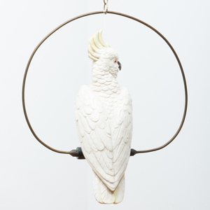 Glazed Pottery Model of a Cockatoo on Swing, Probably Copeland