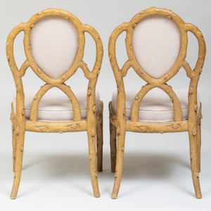 Pair of Rustic Painted Faux Side Chairs