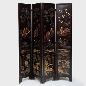 Chinese Coromandel Lacquer and Applied Mother-of-Pearl Four-Panel Screen