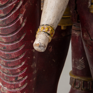 Large  Polychrome Painted and Carved Wood Figure of an Indian Elephant