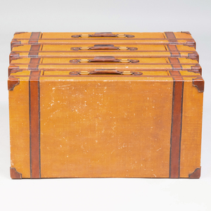 Trompe L'Oeil Painted Canvas and Wood Chest of Drawers