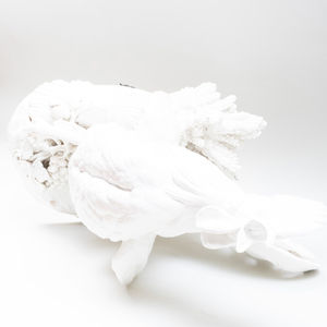 Large Capodimonte White Glazed Figure of a Crowing Rooster