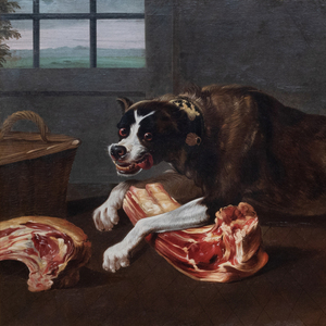 Attributed to or After Juriaen Jacobsen (c. 1625-1685): A Hound Guarding His Bone in a Larder
