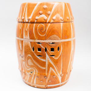 Chinese Faux Bois Porcelain Chinese Garden Stool and Cover