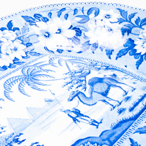 Riley's Semi China Blue and White Transfer Printed Well and Tree Platter with Camel and Pyramids