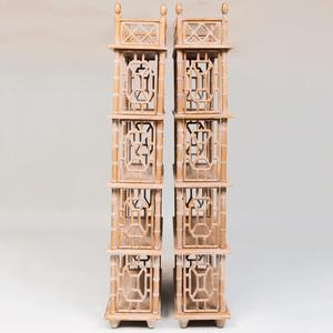 Pair of Faux Bamboo Painted Five-Tier Étagères