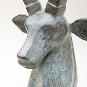 Contemporary Patinated Zinc Model of a Gazelle