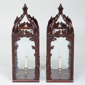 Pair of Modern English Stained Wood Palm Frond Lanterns, John Rosselli Design