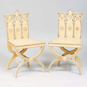Pair of English Neo-Gothic Style Painted Hall Chairs, of Recent Manufacture