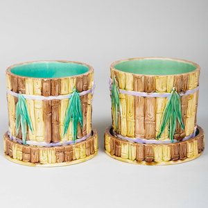 Pair of Majolica Faux Bamboo Cache Pot