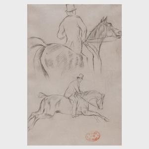 Edgar Degas (1834-1917): Deux Études de Cavaliers