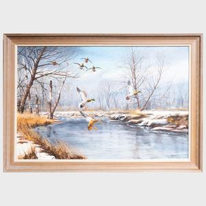 David Maass (b. 1929): Winter River Mallards
